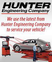We use the latest from Hunter Engineering Company to service your vehicle!
