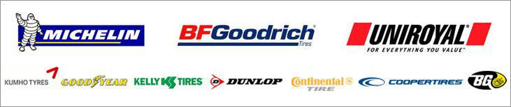 We carry products by Michelin®, BFGoodrich®, Uniroyal®, Kumho, Goodyear, Kelly, Dunlop,  Continental, Cooper, and BG.