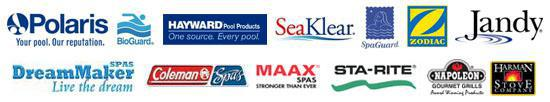 We carry Polaris, BioGuard, Hayward, SeaKlear, SpaGuard, Zodiac, Jandy, DreamMaker, Coleman Spas, MAAX Spas, Sta-Rite products, Napolean Grills, and Harman Stoves.