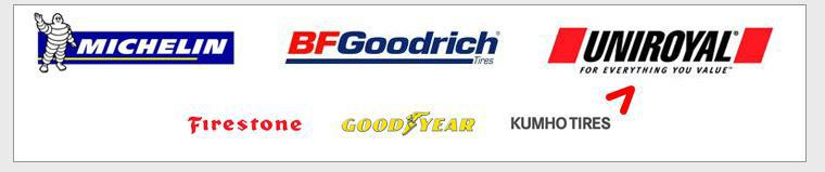 We proudly carry Michelin®, BFGoodrich®, Uniroyal®, Firestone, Goodyear, and Kumho.