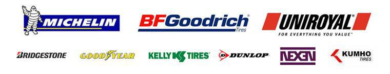 We carry products from Michelin®, BFGoodrich®, Uniroyal®, Bridgestone, Goodyear, Kelly, Dunlop, Kumho, and Nexen.