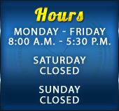 Peach Orchard Tire & Auto Care is open Monday through Friday from 8:00 a.m. to 5:30 p.m. We are closed on Saturday and Sunday.