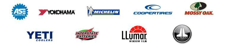 Our technicians are ASE certified. We are proud to carry products from Yokohama, Michelin®, Cooper, Mossy Oak, Yeti Coolers, Interstate Batteries, Llumar Window Film, and JL Audio!