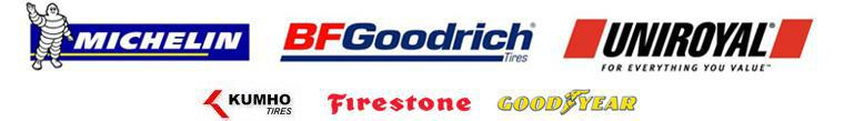 Michelin®, BFGoodrich®, Uniroyal®, Kumho, Firestone, and Goodyear.