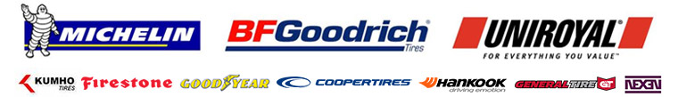 Michelin®, BFGoodrich®, Uniroyal®, Kumho, Firestone, Goodyear, Cooper, Hankook, General, and Nexen.