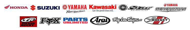 We carry products from Honda, Suzuki, Yamaha, Kawasaki, Star Motorcycle, Yamaha Generator, Tucker Rocky, Fox Racing, Parts Unlimited, Arai, Troy Lee Designs, and Joe Rocket.