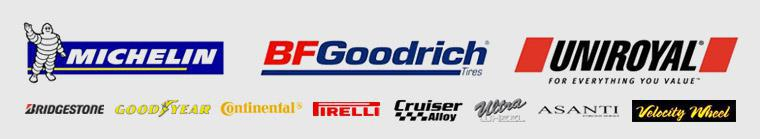 We proudly carry products from Michelin®, Goodyear, Continental, Bridgestone, Pirelli, Cruiser, Ultra, Asanti, and Velocity Wheels.