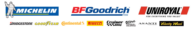 We proudly carry products from Michelin®, BFGoodrich®, Uniroyal®, Bridgestone, Goodyear, Continental, Pirelli, Cruiser, Ultra, Asanti, and Velocity Wheels.