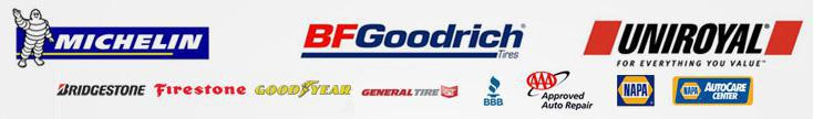 Bridgestone, Firestone, Michelin®, BFGoodrich®, Goodyear, General Tire, BBB, Napa, and AAA Approved Auto Repair.