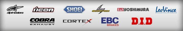 We carry products from Alpinestars, Icon, Shoei, Scorpion, Yoshimura, LeoVince, Cobra, Cortex, EBC, and D.I.D.