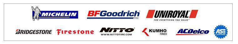 We proudly offer products from Michelin®, BFGoodrich®, Uniroyal® Bridgestone, Firestone, Nitto, Kumho, ACDelco. We are ASE certified.