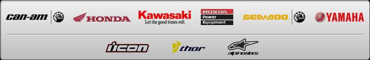 We carry products from Can-Am, Honda, Kawasaki, Honda Power Equipment, Sea-Doo, Yamaha, Icon, Thor, and Alpinestars.