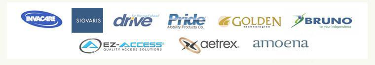We carry products from Invacare, Sigvaris, Drive, Pride, Golden Technologies, Bruno, EZ-ACCESS, Aetrex, and Amoena.