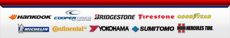 We proudly carry products from Bridgestone, Firestone, Hankook, Goodyear, Michelin, Cooper, Hercules, Continental, Yokohama, and Sumitomo.