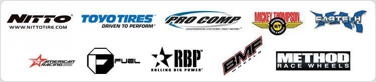 We carry products from Nitto, Toyo, Pro Comp, Mickey Thompson, Fabteck, Fuel, American racing, RBP, BMF, and Method Racing.
