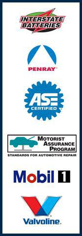 Interstate Batteries. Penray. We are ASE Certified. We are a member of the Motorist Assurance Program. Mobil 1. Valvoline.