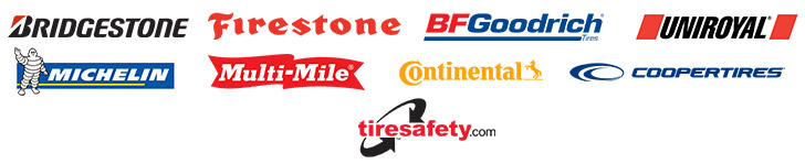 We carry products by Bridgestone, Firestone, BFGoodrich®, Uniroyal®, Michelin®, Multimile, Continental Tire, and Cooper Tire. TireSafety.com