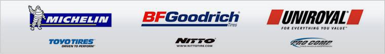 We proudly carry products from Michelin®, BFGoodrich®, Uniroyal®, Toyo, Nitto, and Pro Comp.