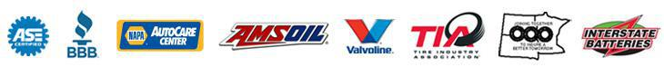 We are ASE Certified. We are a member of the BBB, the Tire Industry Association (TIA), and the North Central Tire Dealers & Suppliers Association (NCTDSA). We are a NAPA AutoCar Center. And carry products from AMSOil, Valvoline and Interstate Batteries.
