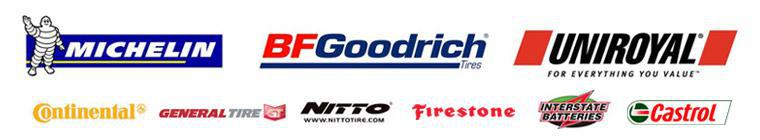 We carry products from  Michelin®, BFGoodrich®, Uniroyal®, Firestone, Continental, General, Nitto, Interstate Batteries, and Castrol.
