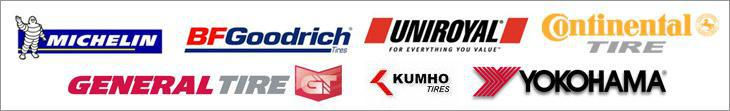 We carry products from Michelin®, BFGoodrich®, Uniroyal®, Continental, General, Kumho, and Yokohama.