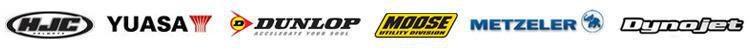 We proudly carry products from HJC, YUASA, Dunlop, Moose Utility, Metzeler, and Dynojet.