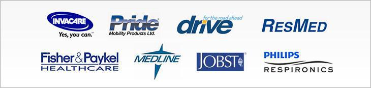 We carry products from Invacare, Pride, Drive, ResMed, Fisher & Paykel, Medline, Jobst, and Respironics.