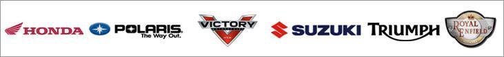 We carry products from Honda, Polaris, Victory, Suzuki, Triumph, and Royal Enfield.