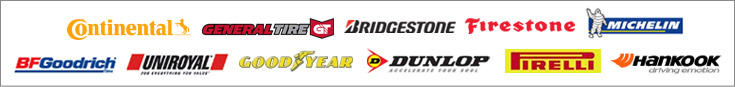 We proudly carry products from Continental, General, Bridgestone, Firestone, Michelin®, BFGoodrich®, Uniroyal®, Goodyear, Dunlop, Pirelli, and Hankook.