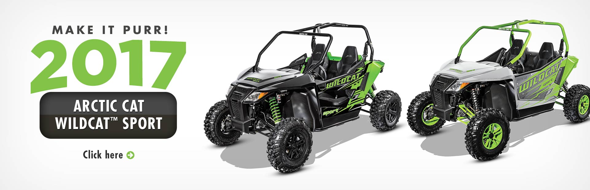 Click here to view our selection of 2017 Arctic Cat Wildcat™ Sport side x sides!