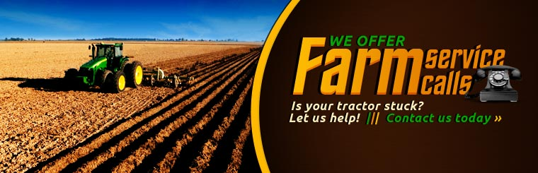 Is your tractor stuck? Let us help! We offer farm service calls! Contact us today.