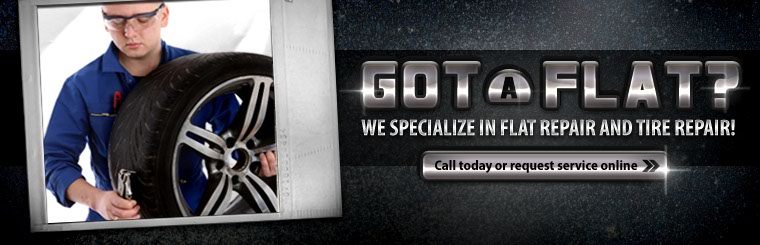 We specialize in flat repair and tire repair! Click here to request service.