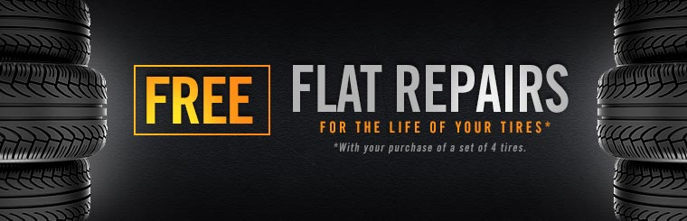 Get free flat repairs for the life of your tires with the purchase of 4 tires.*