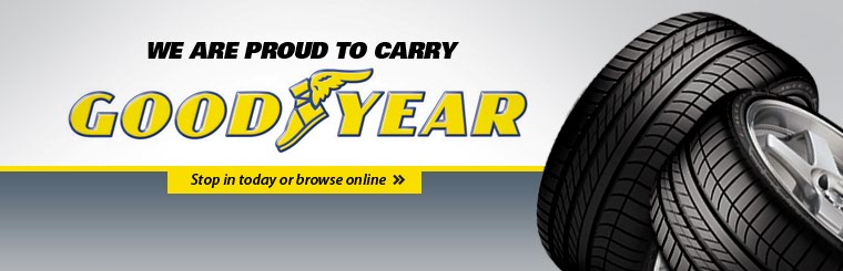 We are proud to carry Goodyear tires. Stop in today or click here to browse online.