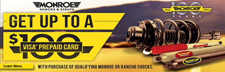Up to a $100 Visa Prepaid Card with Qualifying Monroe Shocks & Struts Purchase