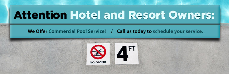 We offer commercial pool service! Call us today to schedule your service.