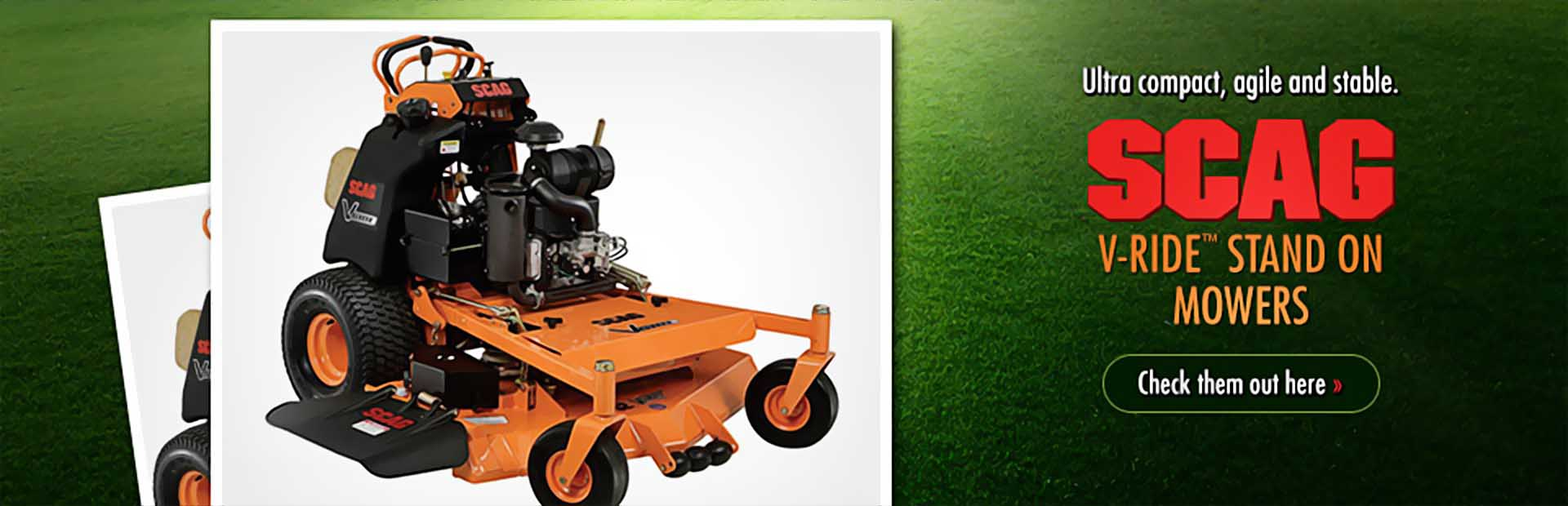 Scag V-Ride™ Stand On Mowers: Click here to check them out!