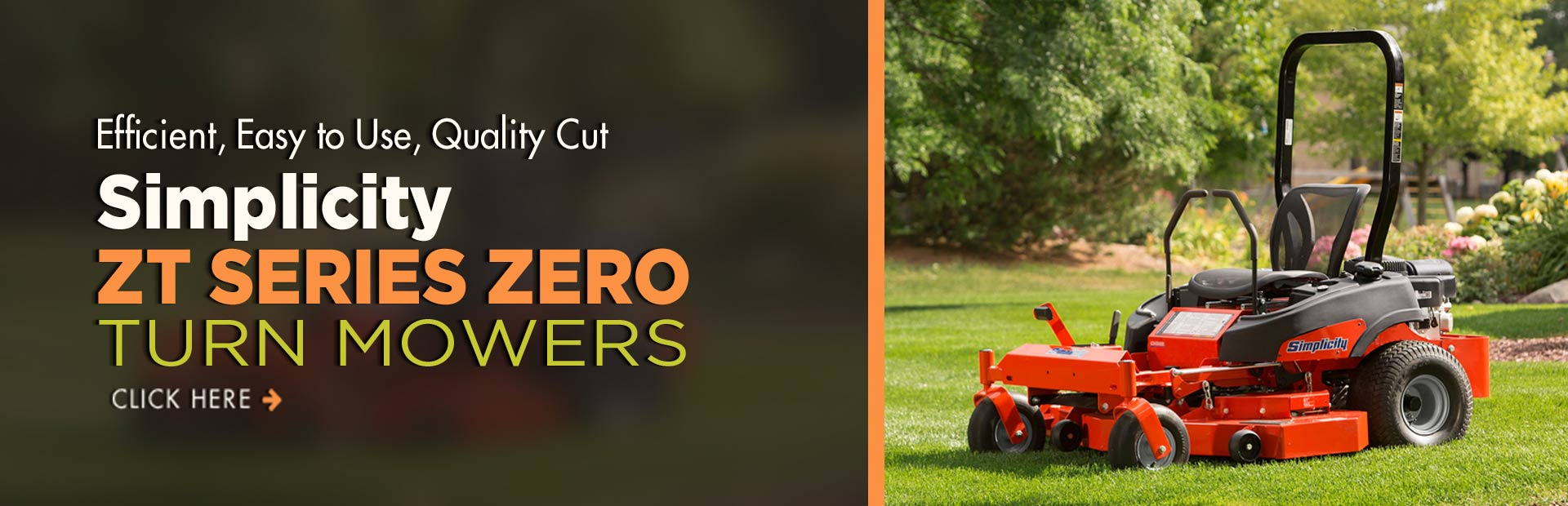 Click here to view our selection of Simplicity ZT series zero turn mowers!