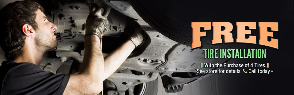 Get free tire installation with the purchase of 4 tires! Click here to contact us for details.