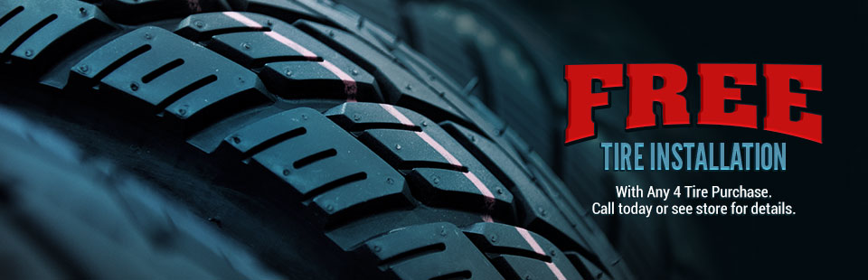 Get a free tire installation with any 4 tire purchase! Click here to contact us for details.
