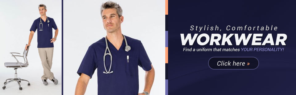 Stylish, Comfortable Workwear: Click here to browse uniforms.
