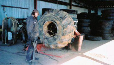 Changing a Skidder Tire